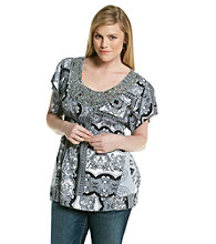 Oneworld® Plus Size Flutter Sleeve Embellished Scoopneck Top