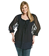 Black Rainn™ Plus Size Clip Dot Long Sleeve Pull Over Shirt