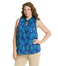 Jones New York Signature® Plus Size Sleeveless Drawstring Cord Blouse