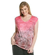 Calvin Klein Performance Plus Size Short Sleeve V-Neck Sublimation Ombre Snakeskin Tee
