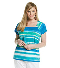 Rafaella® Plus Size Ombre Stripe Squareneck Short Sleeve Top
