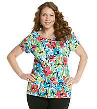 Rafaella® Plus Size Key Hole Cap Sleeve Painterly Garden Top
