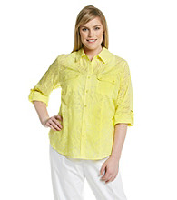 Calvin Klein Plus Size Buttonfront Roll-Tab Sleeve Burnout Shirt