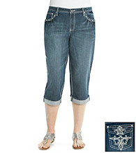Earl Jeans® Plus Size Embellished Pocket Rolled Denim Capri