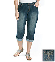 Earl Jeans® Plus Size Emebellished Pocket Cuffed Denim Capris