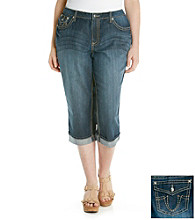 Earl Jeans® Plus Size Embellished Pocket Rolled Denim Capris