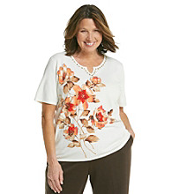 Alfred Dunner® Plus Size Splitneck Beaded Floral Top