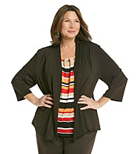 Alfred Dunner® Plus Size Crewneck Layered-Look Cardigan Top