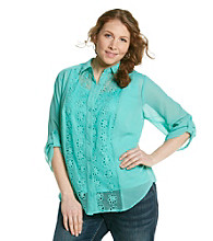 AGB® Plus Size Openwork Front Sheer Buttondown Top