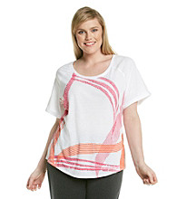 Gloria Vanderbilt7reg; Sport Plus Size Short Sleeve Scoopneck Graphic Tee
