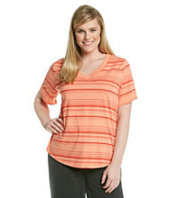 Gloria Vanderbilt® Sport Plus Size Short Sleeve V-Neck Tee