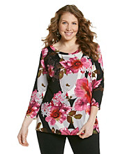 Notations® Plus Size Scoopneck Embellished Floral Tunic