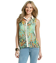 Lovemarks Floral Blouse with Cutouts
