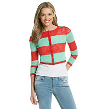 Kensie® Fine Gauge Striped Cardigan