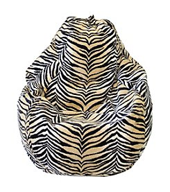 Gold Medal Large Tear Drop Bengali Tiger Safari Micro-Fiber Suede Bean Bag