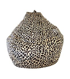 Gold Medal Large Tear Drop Leopard Safari Micro-Fiber Suede Bean Bag
