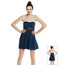 City Triangles® Juniors' Navy Lace Belted Strapless Dress