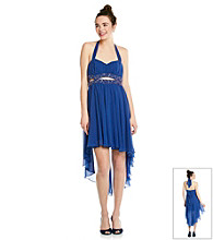 City Triangles® Juniors' Halter Cut Out High-Low Dress