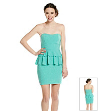 Emerald Sundae® Juniors' Mint Strapless Peplum Dress