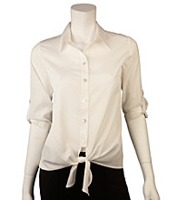 A. Byer Juniors' Roll Sleeve Tie Front Shirt