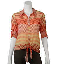 A. Byer Juniors' Roll Sleeve Stripe Tie Front Shirt