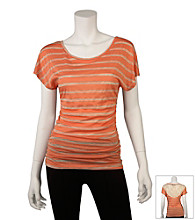 A. Byer Juniors' Lace Back Striped Ruched Top