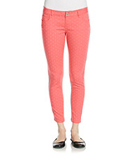 Celebrity Pink Juniors' Polka Dot Print Stretch Sateen Ankle Skinny Jeans