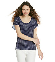 Eyeshadow® Juniors' Polka-Dot Woven Tee