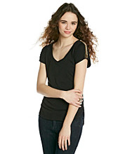 Lily White Juniors' Tee with Studded Shoulder