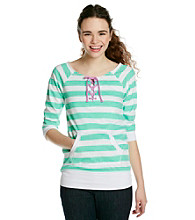 Grane Juniors' Striped Lace Up Neckline Fleece Pullover