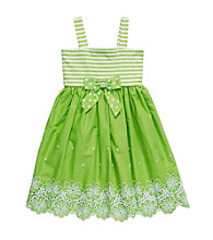 Sweet Heart Rose® Girls' 2T-6X Green Striped Knit to Woven Dress