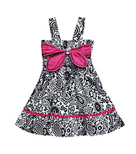Sweet Heart Rose® Girls' 2T-6X Black/White Bandana Print Dress