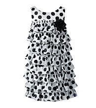 Sweet Heart Rose® Girls' 4-6X Black/White Tiered Polka-Dot Chiffon Dress