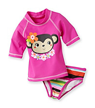 Carter's® Girls' 2T-4T Pink Monkey Rash Guard Set