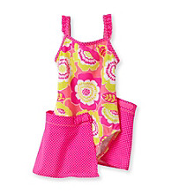 Carter's® Girls' 4-6X Neon Pink Floral Skirted Swimsuit