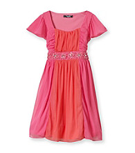 My Michelle Girls' 7-16 Pink Colorblock Flutter Sleeve Dress