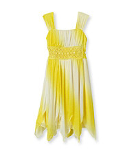My Michelle Girls' 7-16 Yellow Ombre Shimmer Dress