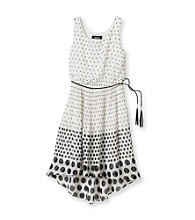Amy Byer Girls' 7-16 Black/White Polka Dot High-Low Dress