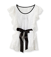 Amy Byer Girls' 7-16 White Butterfly Sleeve Top