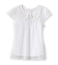 Amy Byer Girls' 7-16 White Chiffon Top
