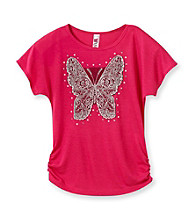 Beautees Girls' 7-16 Pink Butterfly Emblem Tee