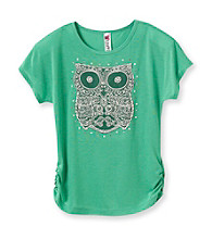 Beautees Girls' 7-16 Green Owl Emblem Tee