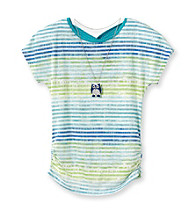 Beautees Girls' 7-16 Green Striped Burnout Tee with Owl Necklace