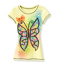 Beautees Girls' 7-16 Yellow 3D Butterfly Screen Tee