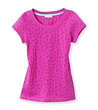 Grane® Girls' 7-16 Purple Cheetah Burnout Tee