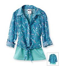 Belle du Jour Girls' 7-16 Green 2-pc. Sunglass Print Tie Front Top