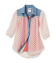 Belle du Jour Girls' 7-16 White Chambray 2-pc. Heart Print Top