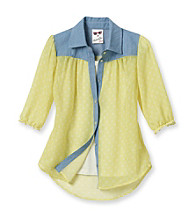 Belle du Jour Girls' 7-16 Yellow 2-pc. Peace Sign Top