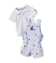 Little Me® Baby Boys' White/Blue Sailboat Shortall Set