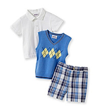 Heartworks Baby Boys' Blue 3-pc. Argyle and Plaid Shorts Set